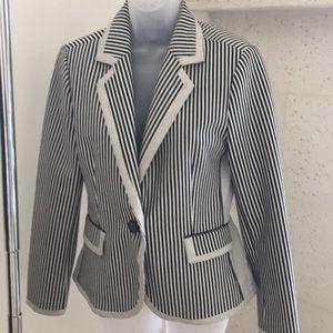 Jackets & Blazers - Navy + White Stripe Blazer